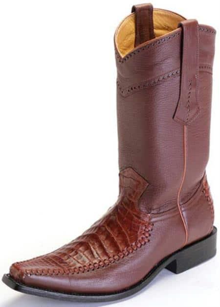 Caiman Belly Cognac Brown Vintage Los Altos Mens Cowboy Boots Western Riding 290