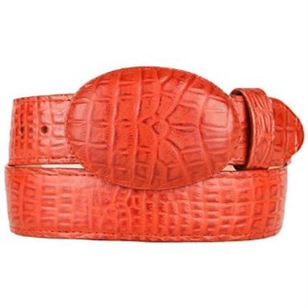 Caiman belly cognac western style belt