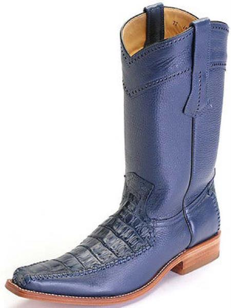 Caiman Belly Leather Blue Los Altos Men Cowboy Boots Western Classic Rider Style 290