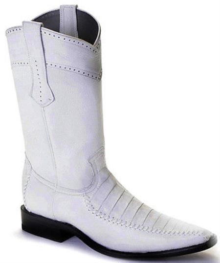 Caiman Belly Vintage White Los Altos Mens Cowboy Boots Western Classics Style 290