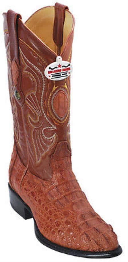 Caiman Hornback Cognac Brown Vintage Los Altos Mens Cowboy Boots Western Riding