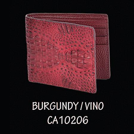 Caiman Hornback Leather Wallet by Los Altos Boots Burgundy 108