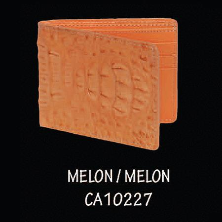 Caiman Hornback Leather Wallet by Los Altos Boots Melon 108