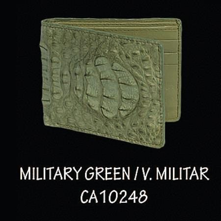 Caiman Hornback Leather Wallet by Los Altos Boots Military Green 108