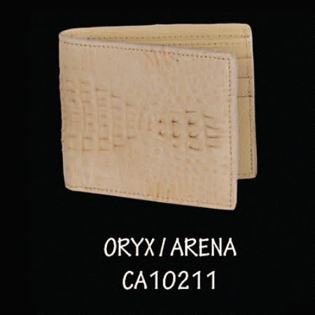 Caiman Hornback Leather Wallet by Los Altos Boots Oryx 108