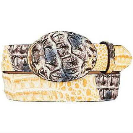 Caiman hornback skin western style hand crafted belt natural