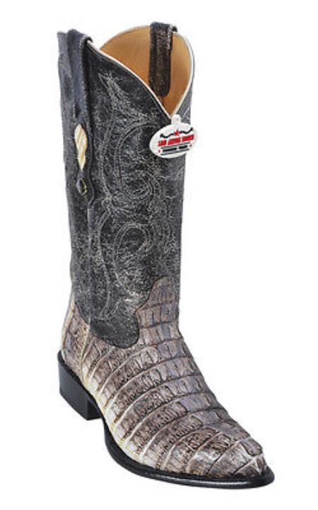 Caiman TaLeather Vintage Beige Los Altos Men Cowboy Boots Western Rider Style
