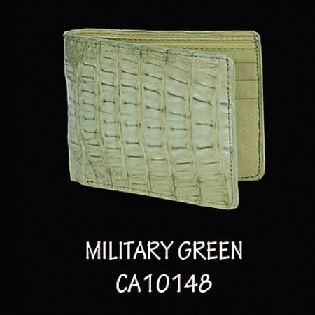 Caiman TaLeather Wallet by Los Altos Boots Military Green
