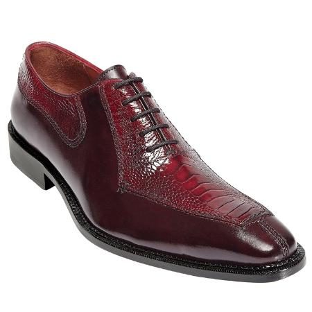 Calfskin Leather / Ostrich Exotic Dress Shoes Lambskin Leather in Red