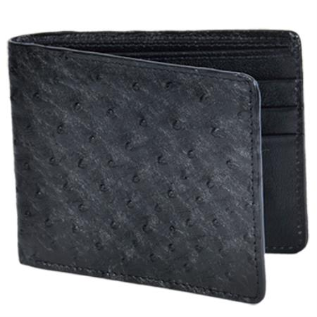 Carteras Avestruz Mens Wallet Negro