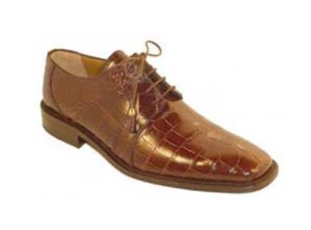 Chocolate Full Genuine Leather Alligator Shoes Mens