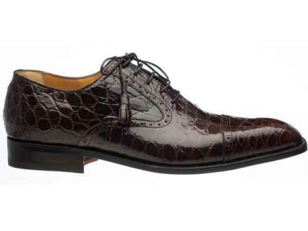Chocolate Mens Cap Toe Lace Up Italian Style Alligator Belly Skin Shoes