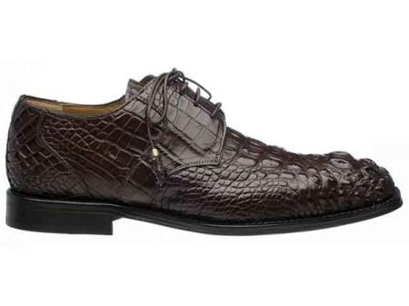 Chocolate Mens Italian Lace Up Square Toe Hornback Alligator Shoes