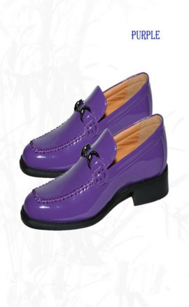 Classic Vintage loafer slip on shoe Purple Shoe Dress Faux Leather