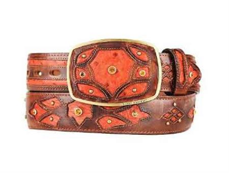 Cognac burnished ostrich full quill skin fashion western belt