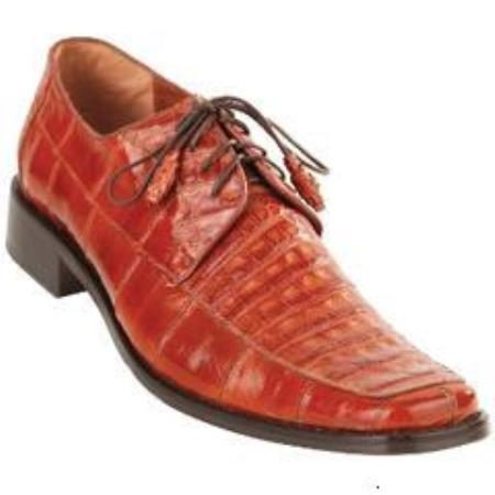 Cognac Caiman Belly Split Toe Derby Shoes