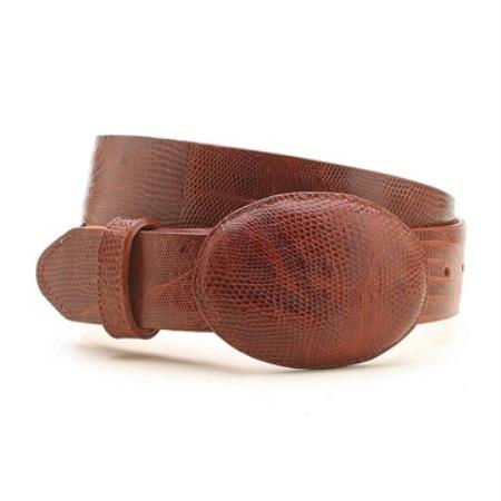 Cognac genuine lizard belt