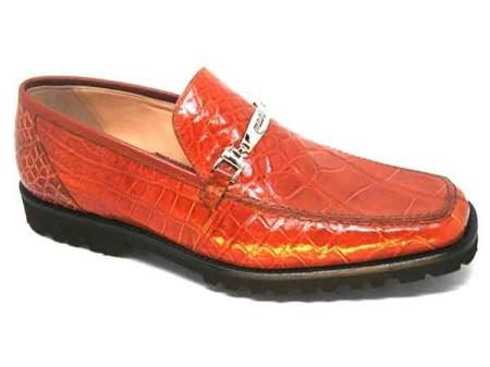 Cognac Mauri Spada Italy Mens Alligator Rubber Sole Casual Loafers Slip-On Shoes