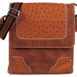 Cognac Ostrich Cross Body Bag7
