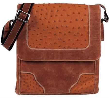 Cognac Ostrich Cross Body Bag7
