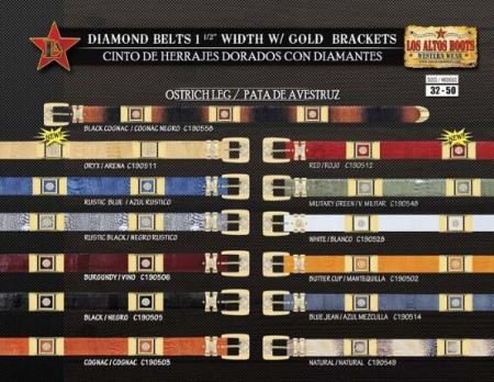 Cowboy Diamond Belts 1.5inch Width Ostrich Leg with Gold Brackets