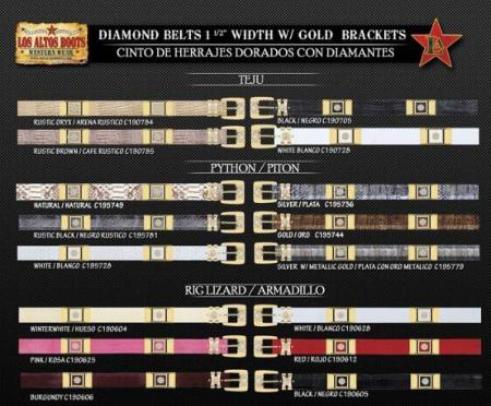 Cowboy Diamond Belts Teju Ring Lizard Python with Gold Brackets