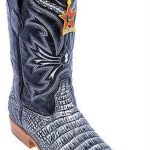 Croc Belly Print Black Silver Los Altos Mens Cowboy Boots Western Riding