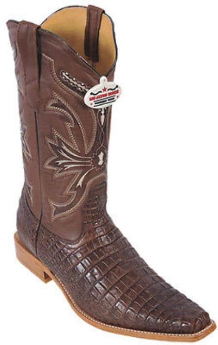 Croc Belly Print Riding Brown Los Altos Mens Western Boots Cowboy Classics