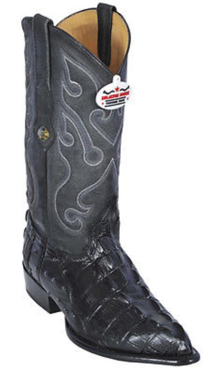 Croc TaOstrich Print Leather Black Los Altos Mens Cowboy Western Boots JToe