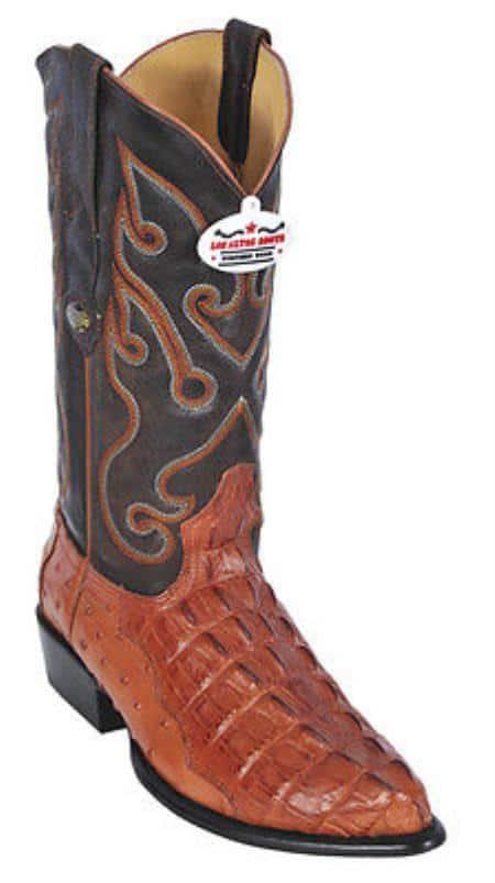Croc TaOstrich Print Leather Cognac Los Altos Mens Cowboy Boots JToe