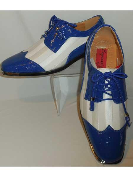 Croclook Satin Silvertip Wingtip Royal Blue/White Lace Up Dress Shoes