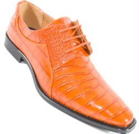 Crocodile Alligator Exotic Print Orange Skin lace Up Shoe