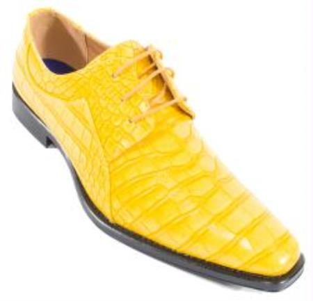 Crocodile Alligator Exotic Print Skin Canary lace Up Shoe