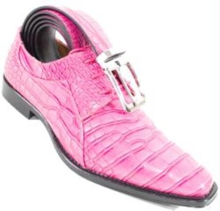 Crocodile Alligator Exotic Print Skin lace Up Fuxia Shoe