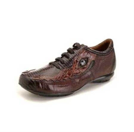 Dark Brown/Brown Lizard and Caiman Sneaker