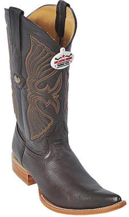 Deer Brown Los Altos Mens Western Boots Cowboy Design Pointy Toe