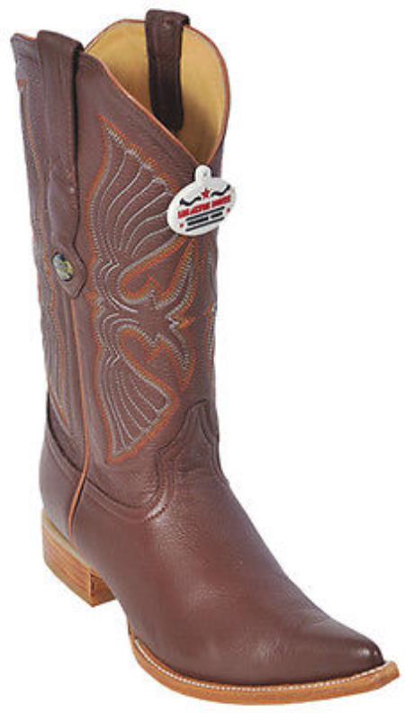 Deer Cognac Los Altos Mens Western Boots Cowboy Design Pointy Toe