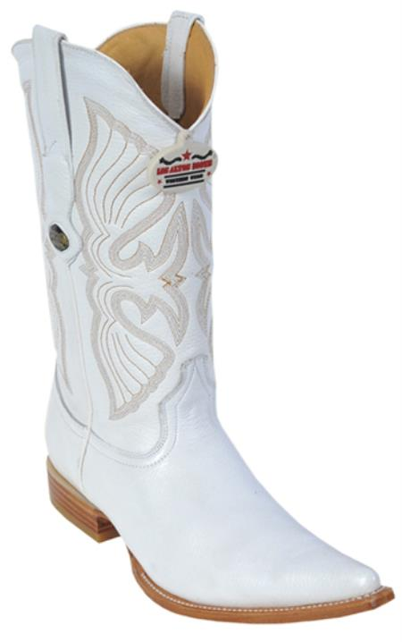 Deer Leather White Los Altos Mens Cowboy Boots Western Fashion Pointy Toe