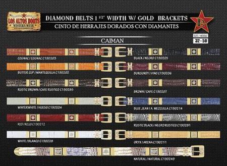 Diamond Genuine Caiman 1.5inch Wide Belt W/Gold Bracket