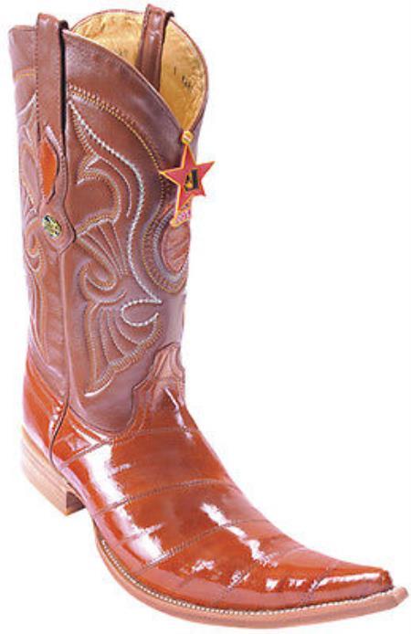 Eel Classy Cognac Brown Vintage Los Altos Mens Cowboy Boots Western Riding 205