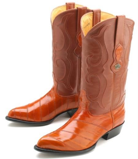 Eel Classy Cognac Brown Vintage Los Altos Mens Cowboy Boots Western Riding