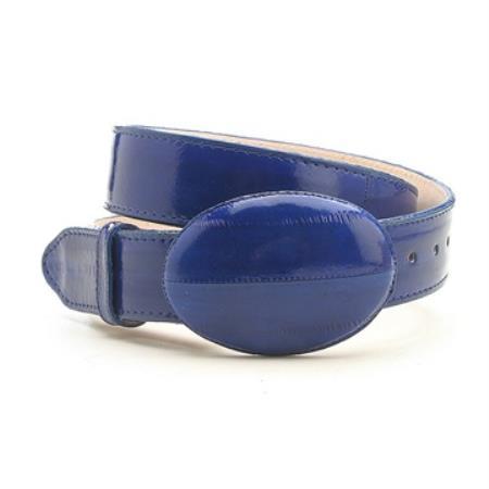 Electric blue genuine eelskin