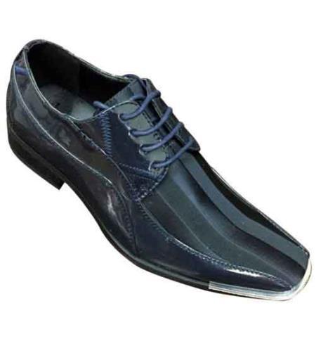 Elegant Synthetic Upper Oxfords Dress shoes Tone On Tone Stripes Navy