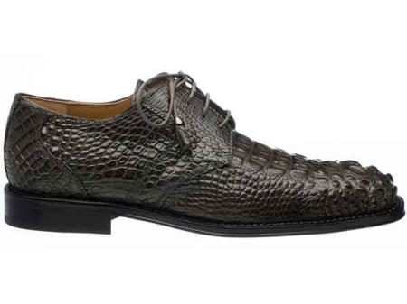 Elephant Grey Mens Square Toe Hornback Alligator Skin Lace Up Shoes