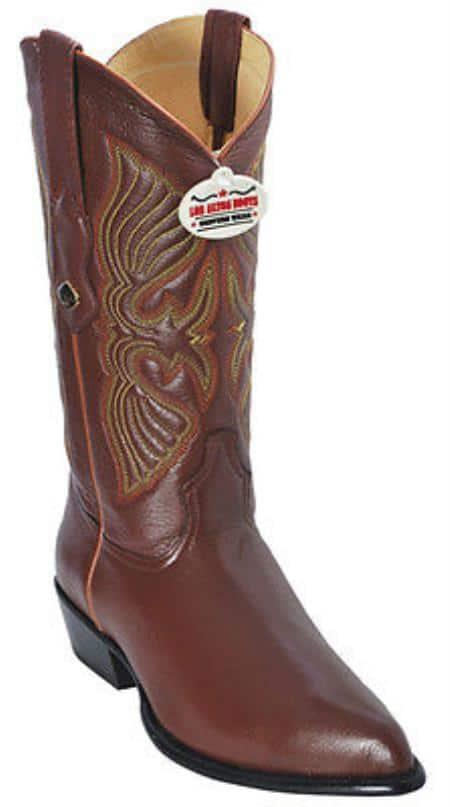 Elk Leather Cognac Brown Vintage Los Altos Mens Cowboy Boots Western Riding