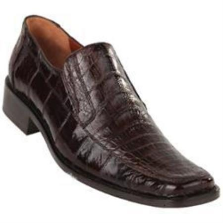 Exotic Brown Caiman Belly Split Toe Loafer Shoes