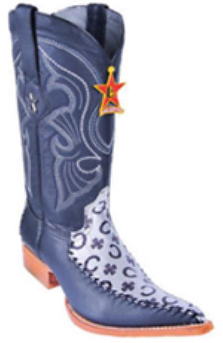 Fashion Design Leather Black Silver Los Altos Mens Western Boots Cowboy 3x Toe