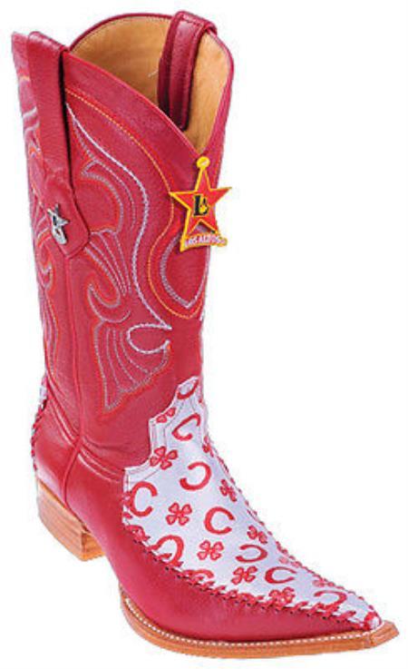 Fashion Design Leather Red Los Altos Mens Western Boots Cowboy Style 3x Toe