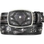 Fashion western belt burnished gray original eel skin