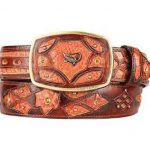 Fashion western belt cognac original caiman belly skin